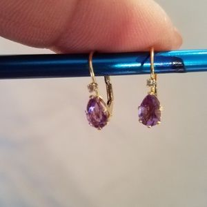 Gold, Amethyst Earrings
